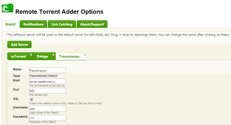 How to configure Remote Torrent Adder and BitTorrent WebUI